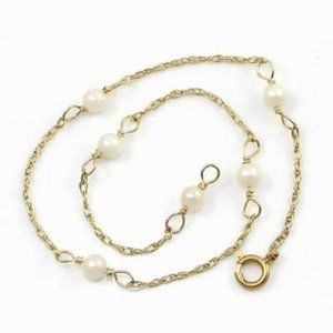 COPY - Solid 14K Yellow Gold Pearl Chain Bracelet…